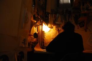 Clet Abraham al seu estudi